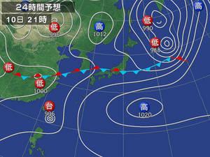 2011/05/10 21:00 予想天気図