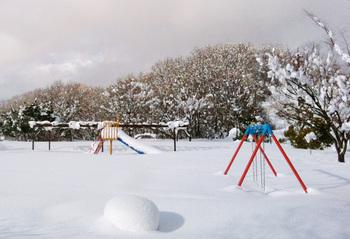 豪雪に埋もれた公園の遊具